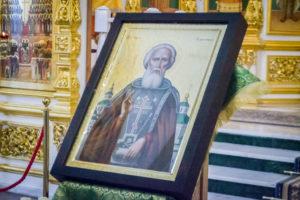 В кафедральный собор передали икону, написанную в одном из монастырей г. Афон